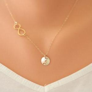 Gold Infinity necklace with initial..