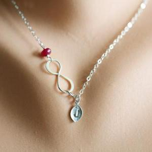 Infinity necklace with leaf initial..