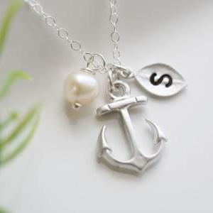 Anchor Necklace,Anchor with leaf in..