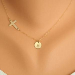 Gold Sideways cross necklace with i..