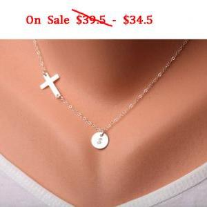 Sale-Sideways cross necklace with i..