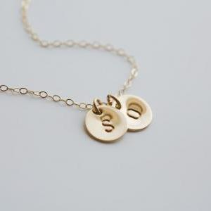 Customize TWO initial Necklace,14k ..