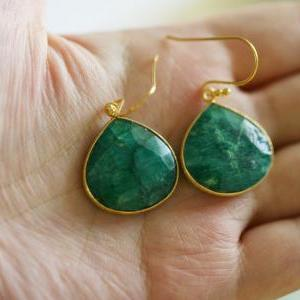 Real Emerald Earrings,Large stone E..