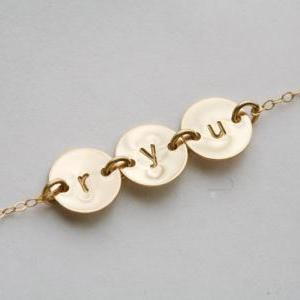 THREE Initial Necklace,GOLD Filled,..
