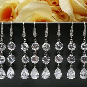 Set of 4,Bridal Earrings Cubic Zirc..