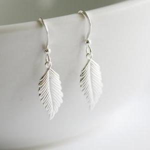 Sterling silver feather Earrings,Fa..