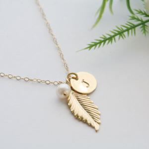 Gold Feather Necklace,Initial neckl..
