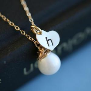 Gold heart necklace,Customize initi..