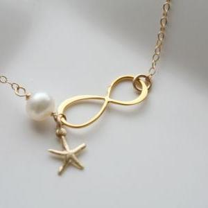 Gold Infinity necklace,Starfish nec..