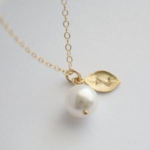 Wedding Jewelry,Initial Pendant Pea..