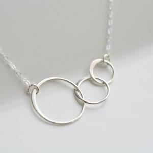 STERLING SILVER Circle Necklace,Ete..