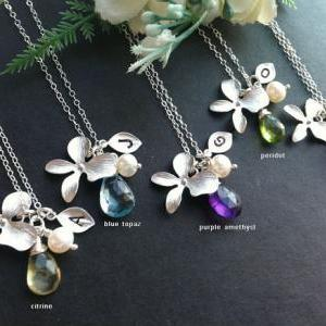 Set of 6,Orchid flower Necklace,lea..