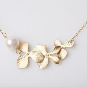 Orchid Flower Necklace,Gold filled ..