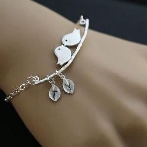Initial Bracelet,Bird on the branch..