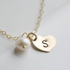 Heart initial Gold Fill necklace,Cu..