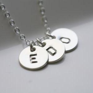 Three Initials Necklace,Sterling Si..