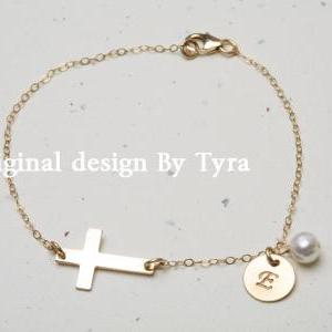 14k Gold Sideways cross bracelet,In..