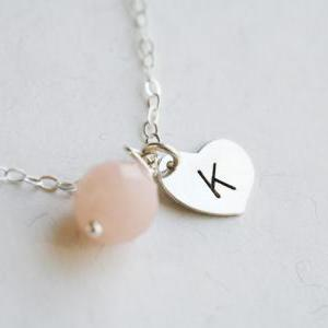 Tiny Single initial Necklace,Heart ..