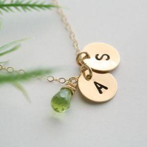 Two Initials GOLD Fill Necklace, Cu..