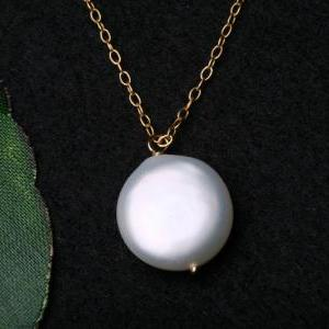 Fresh Water Coin Pearl Sterling Sil..