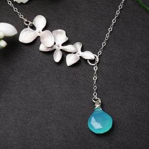 Orchid flower sterling silver neckl..