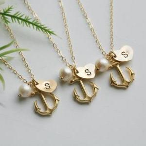10% OFF,Set of 6,Gold Anchor Neckla..