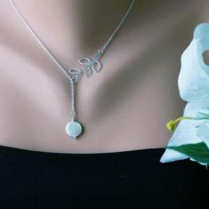 Leaf Necklace,Branch and coin Pearl..