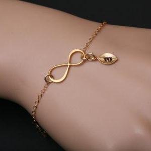 Set of 4,Gold Infinity initial brac..
