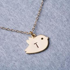 Bird Initial necklace,Gold Filled,m..