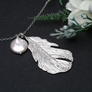 Silver Feather Necklace,birthstone ..