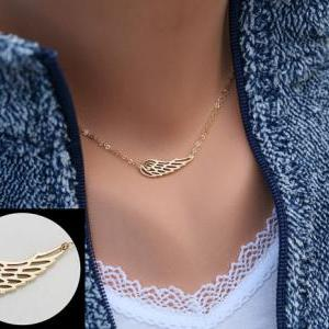 Angel Wing necklace,Gold Wing delic..