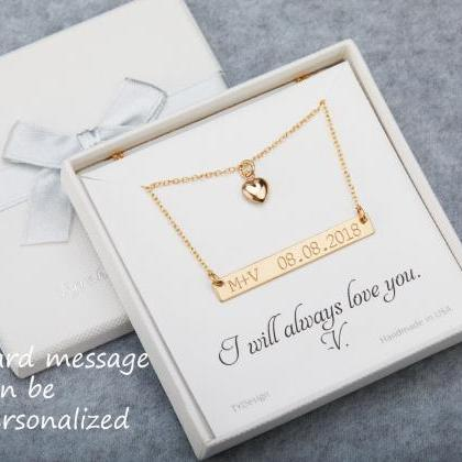 Double layer Engraved bar Necklace ..