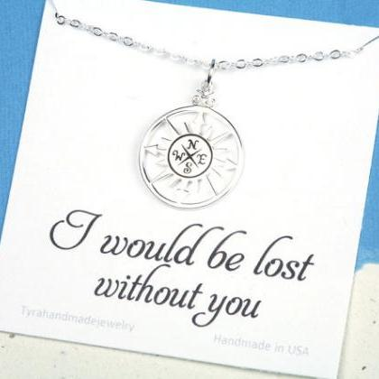 terling silver compass necklace wit..