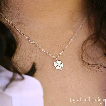 Gold Four leaf clover necklace,sham..