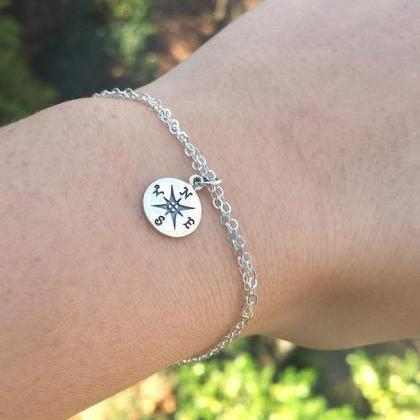 Compass charm Bracelet with note ca..