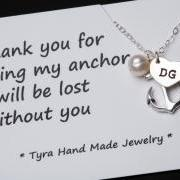 Heart initial,Anchor Necklace,Anchor with heart initial,Pearl,Sailors Anchor,Wedding Jewelry,Bridesmaid gifts,daily Jewelry,strength,