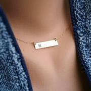 Personalized Bar necklace, initial Bar Monogram Necklace, Contemporary Bridesmaid's jewelry, Initial Rectangle necklace