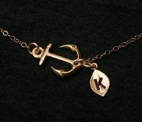 Gold Anchor Necklace..