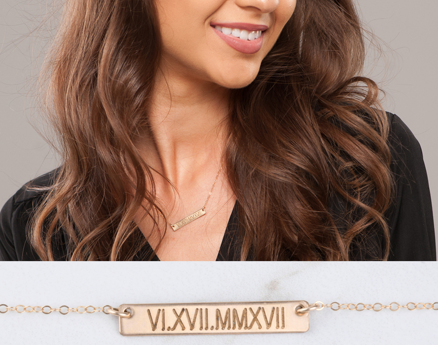 Engraving bar necklace,14k gold filled Coordinate name date bar necklace,Initial Rectangle necklace,Bridesmaid