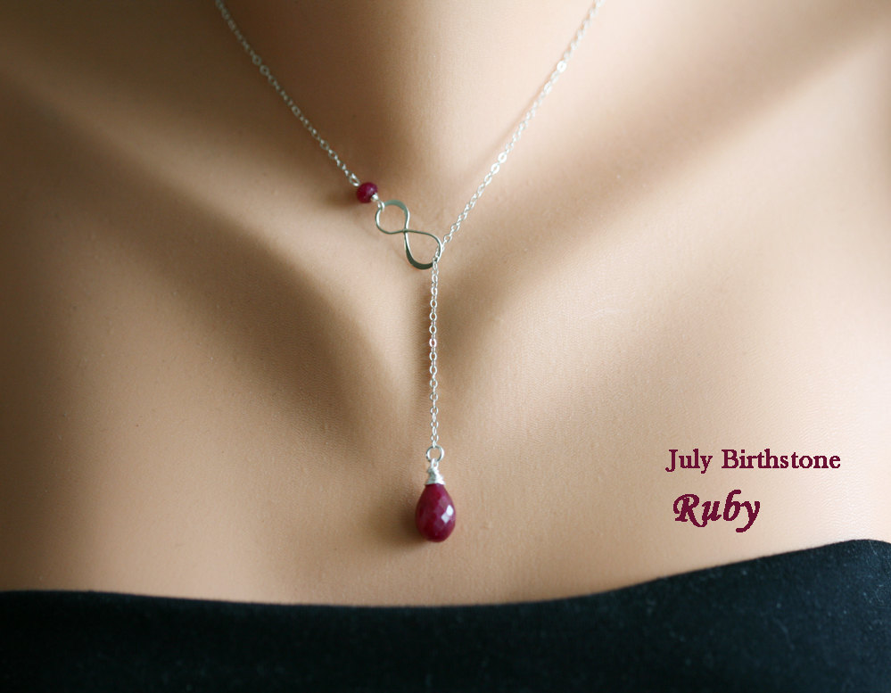 Personalized Infinity necklace,July ruby birthstone,Monogram Necklace,Lariat Y necklace,Wedding Jewelry,Bridal,Leaf jewelry