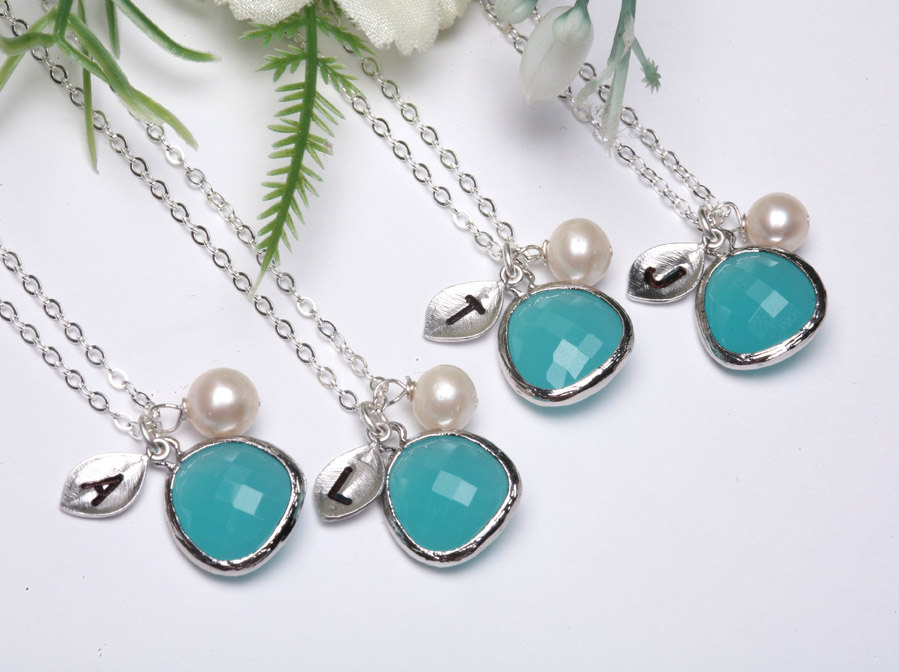 PERSONALIZED INITIAL,set of 6,Leaf initial,Initial Necklace,Stone in bezel,wedding jewelry,bridal jewelry,Aqua blue, Tiffany blue