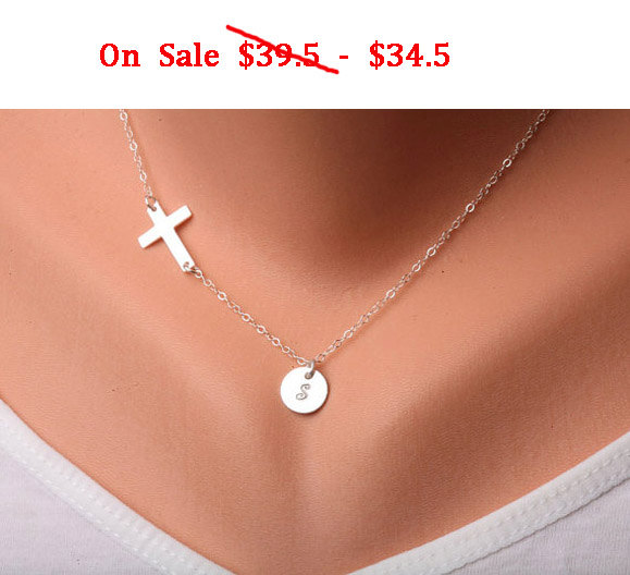 Sale-Sideways cross necklace with initial charm,Initial necklace,Blessed,Personalized,Everyday,horizontal cross