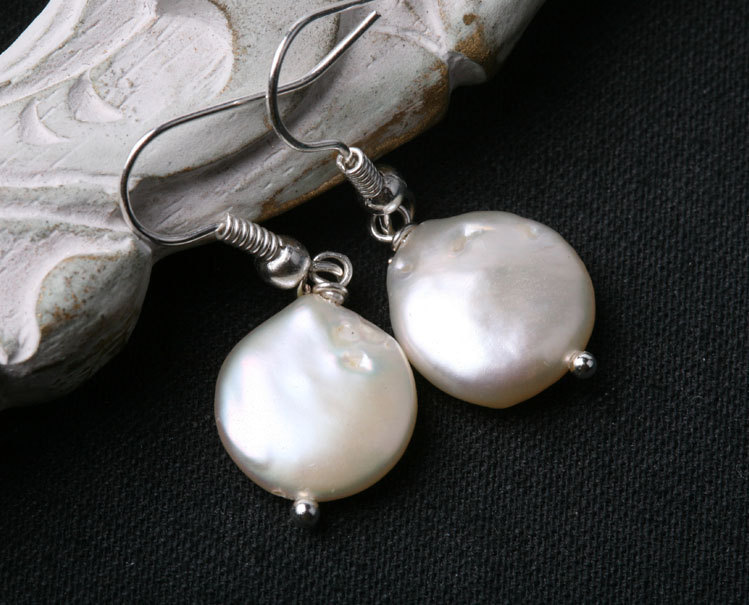 Classic High quality Freshwater Coin Pearl Duo sterling silver earrings
