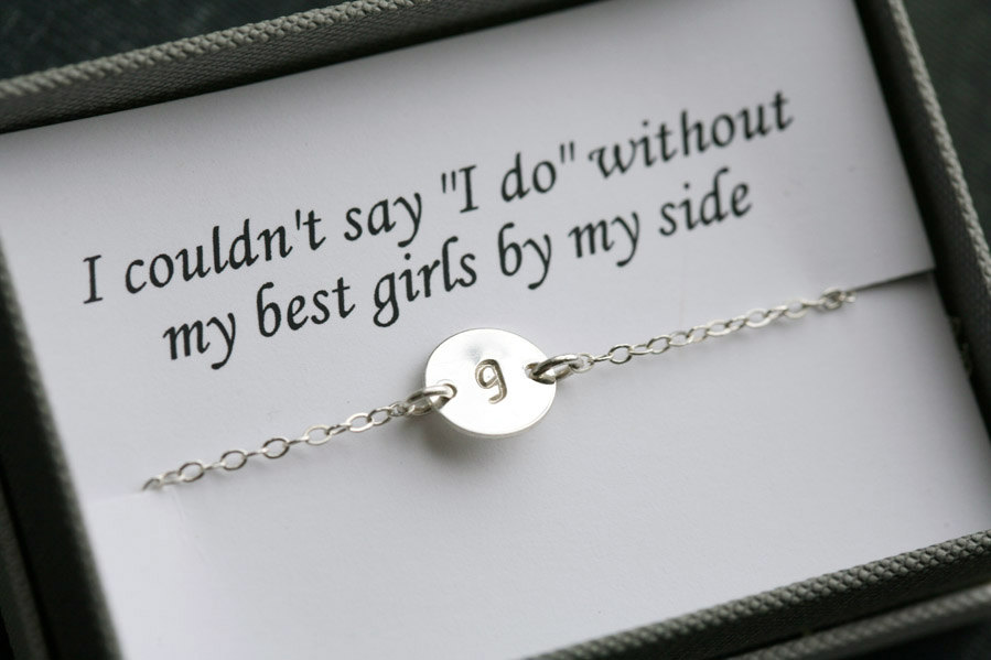 Bridesmaid gifts,Bridesmaid card,Thank you card with necklace,Silver ,Initial necklace for bridesmaid,Message card,be my bridesmaid