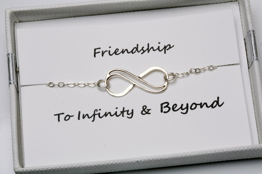 Infinity bracelet with card,sterling silver bracelet,eternity infinity bracelet,bridesmaid gifts,sisterhood,customize birthstone,wedding