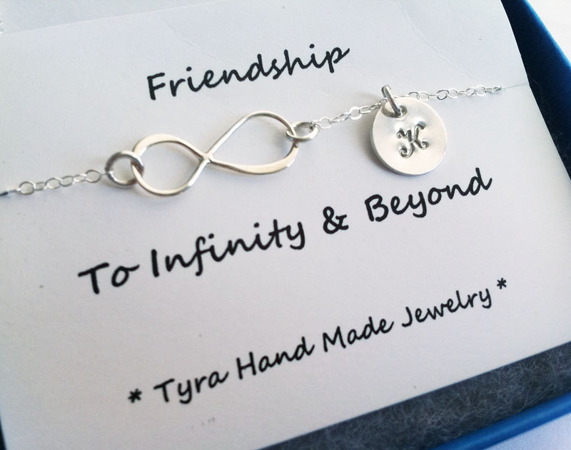 Infinity necklace with initial charm,Sideways,Initial necklace,Friendship,Personalized initial,Everyday,horizontal cross,