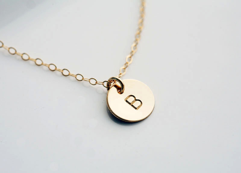 Custom Initial GOLD Filled Necklace, Tiny Initial Letter charm, Everyday daily Jewelry, Birthday, Bridesmaids Jewelry