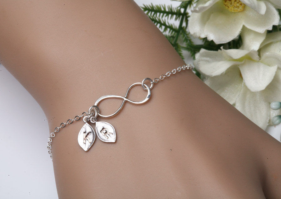 Infinity Bracelet Two Initials Letter Personalized Jewelry Monogram