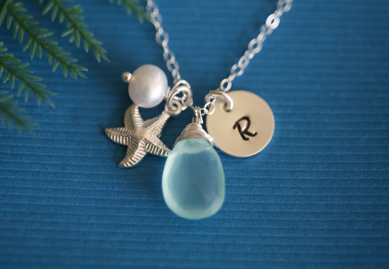 Starfish necklace,Gold fill necklace,Custom initial & birthstone,wire wrapped pearl,Beach theme wedding,Birthday,bridesmaid gifts