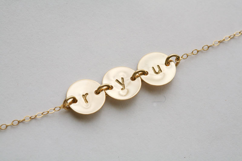 THREE Initial Necklace,GOLD Filled,Best Friends Necklace,Personalized,Mother's jewelry,birthday,connector